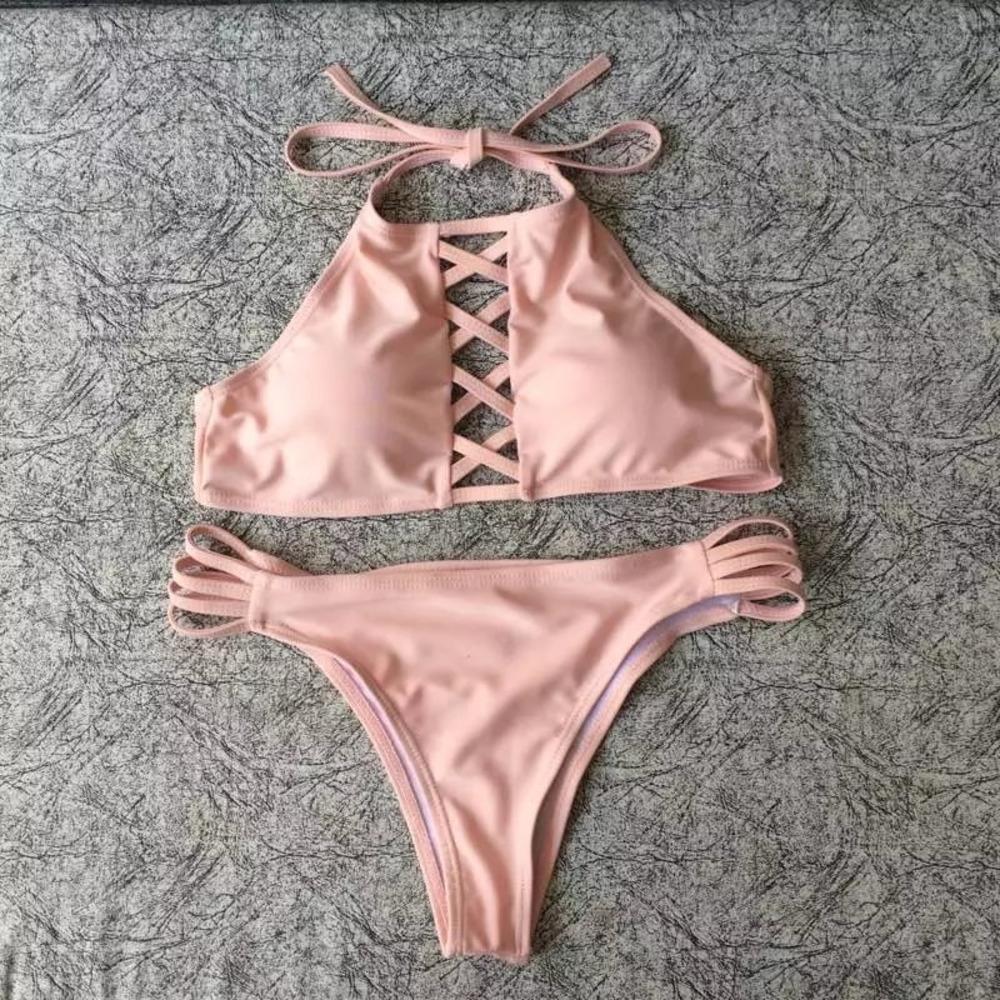 Maillot de bain nouveau bikini maillot de bain de femmes de couleur multi-corde bikini sexy fendue solide de belle Th1Gr