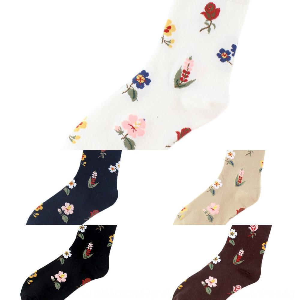Kadın Kore tarzı tarzı çiçek ins çorap moda orta boy Yüz çorap çorap Çiçekler çorapları Qk1EX