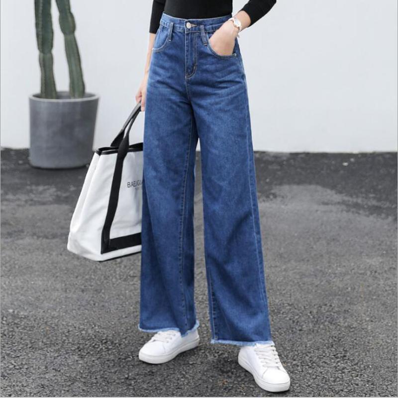 2020 neue volle Baumwolle Damen High Waist Jeans Blass bei verkratzten Hosen Top-Qualität in voller Länge Enthärter lose Wide Leg Lässige