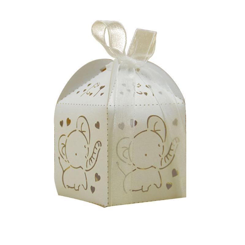 10 pièces Bonbonnière papier mignon avec ruban décoratif Pliable évidé Elephant stockage Enfant Mariage Birthday Party