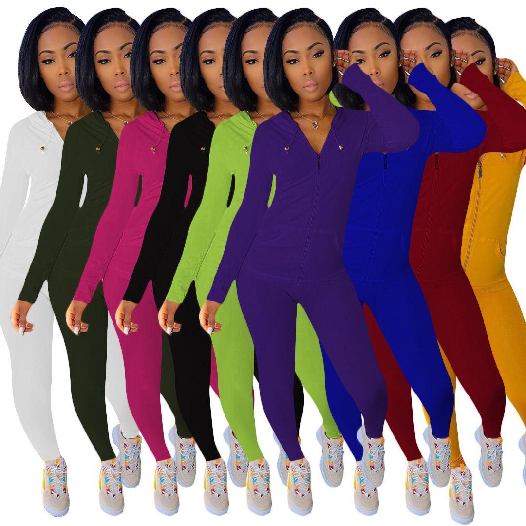 8 Couleurs Femmes Tenue de deux pièces Couleur Solid Sportswear Sportswear Shaist Pantalons à manches longues Femme S Vêtements 2 pièces Ensemble Suivi