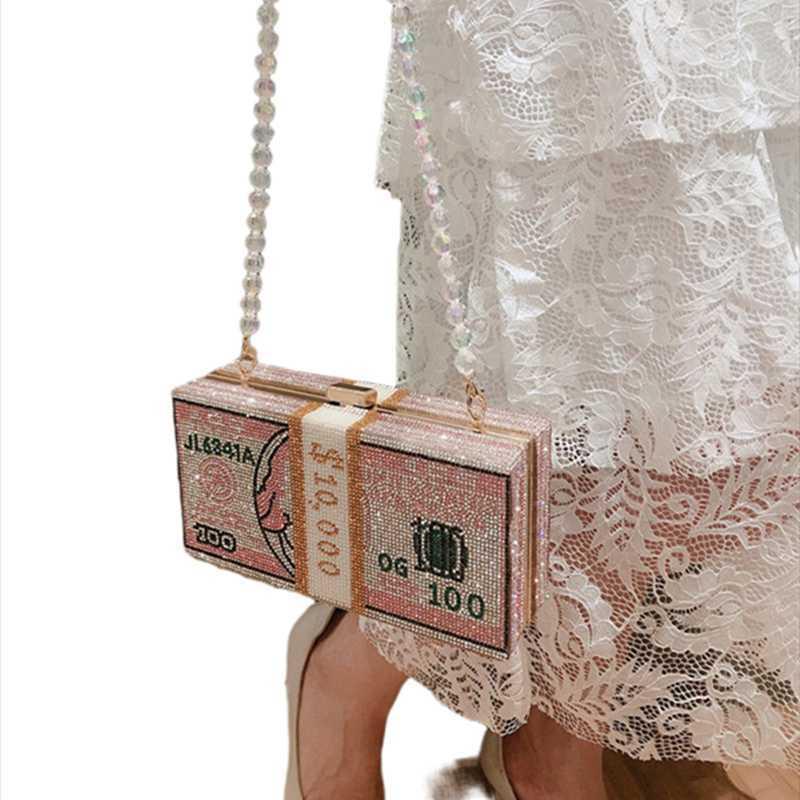2021 partito di cristallo denaro Diamante Design Designer Designer Borse dollari USD cena sera frizione borsa moda matrimonio borse borse borse a mano Vewir