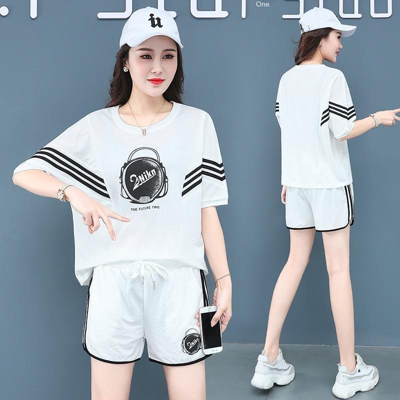 tBFpm Casual spor takım elbise kadın giyim Yaz 2020 göbek kapsayan zayıflama küçük batı ve şort tarzı yaş azaltıcı şort iki parçalı ler