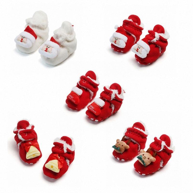 Caliente nuevo invierno del niño del muchacho del bebé zapatos de la historieta de Navidad impresión de algodón de los calzados informales lindo recién nacido antideslizante suavemente único quxn zapato #