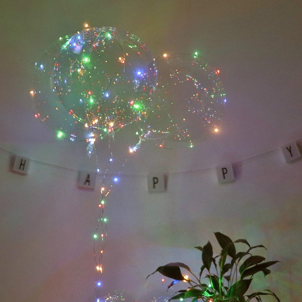 حزب 1PCS بوبو الكرة شفافة مرنة من البلاستيك بالون دائم الهليوم بالون أدى ضوء الزفاف حفلة عيد الميلاد الديكور