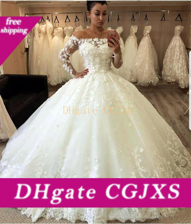 New Ivory weg Schulter Ballkleid Brautkleider 2019 A -Line langen Ärmeln 3d Flora Appliques Brautkleider Braut-Kleid nach Maß