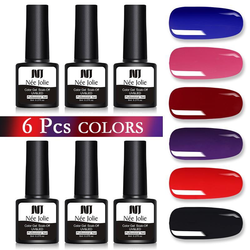 Гель для ногтей Nee Jolie 8ML польский набор Все для полупомальной лак верхнее пальто УФ-светодиод УФ впитается