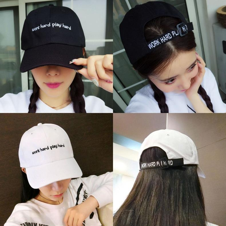 lucZr baseball Harajuku dur travail cap-coréen des femmes de baseball slogan anglais pour hommes et printemps chapeau et été lettre tout match brodent 439wt