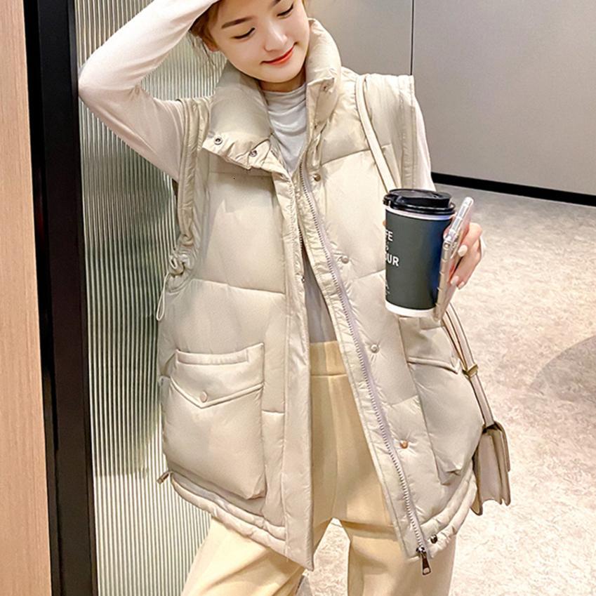 Vest Parkas 2020 Herbst-Winter-Tasche mit Kapuze warmer beiläufiger Ärmel großer Taschen-Weste-Jacke für Damen