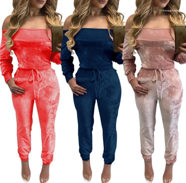 Femmes épaule Tenues Designer velours solide Casual Couleur Vêtements Femmes Mode barboteuses Sexy Off