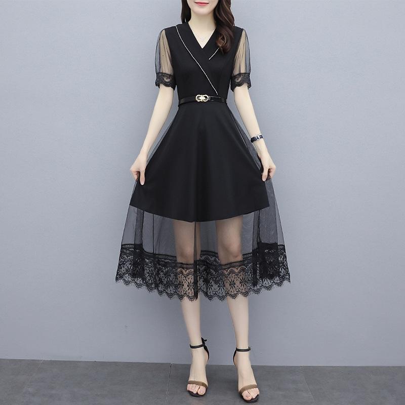 Kadınlar için jc936 HZNnH 2020 Yaz yeni örgü tasarımı elbise V yaka bel elbise zayıflama kısa kollu Papatya moda