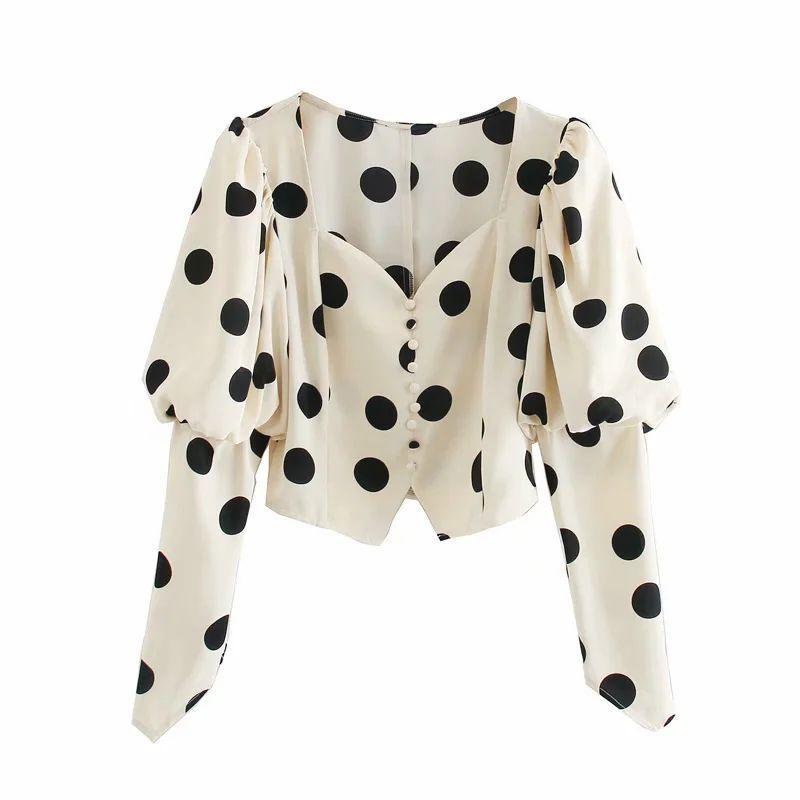 2020 Nuovo Donne Pois camicia lunga manicotti di soffio con scollo a V Crop Tops eleganti camicie vintage femminili Femme Mujer Camicetta