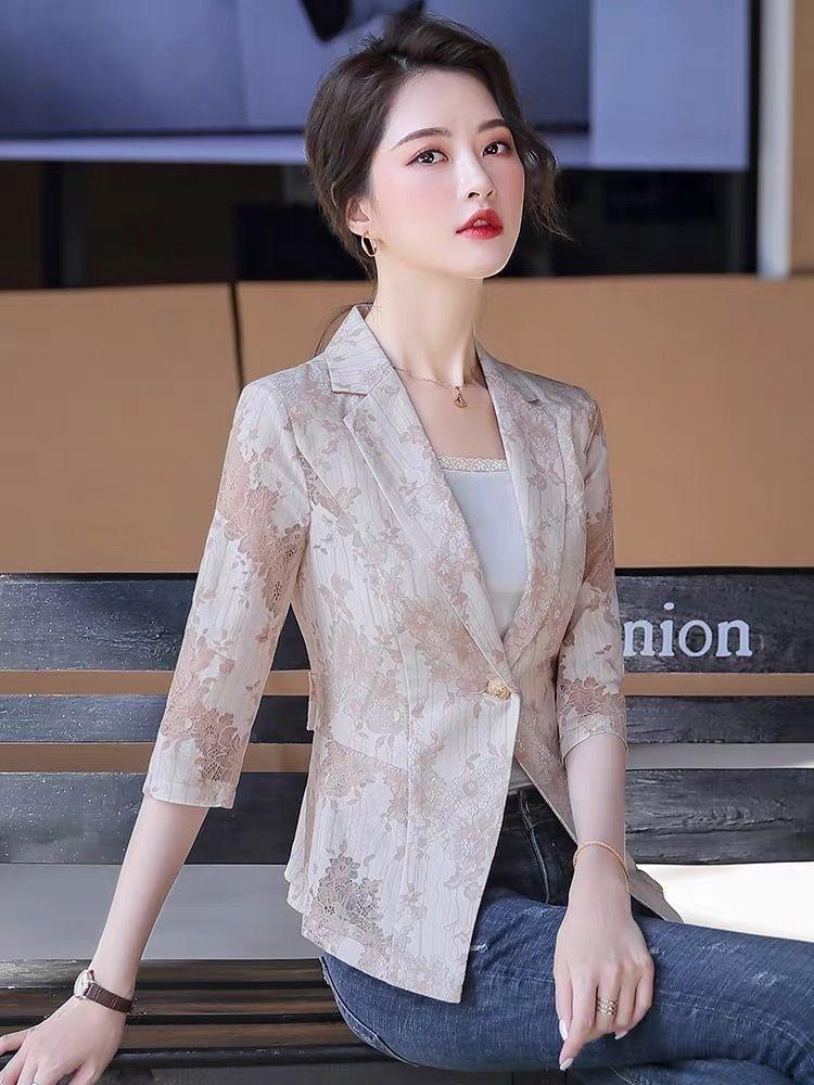 Nnouc 2020 manches de style petit manteau en dentelle Top coat recadrée haut de printemps dentelle de mode mince femme coréenne et d'été tempérament décontracté femmes