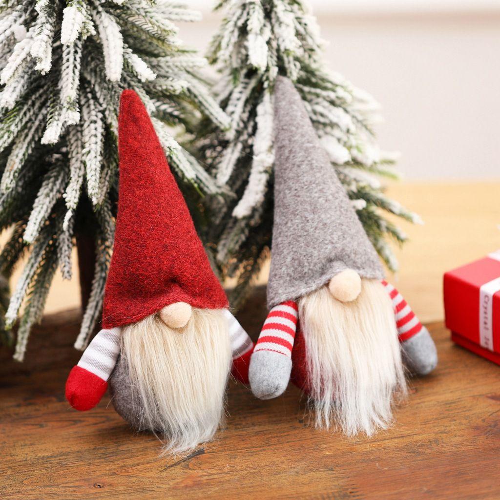 Kerstmis handgemaakte Zweedse Gnome Scandinavische Tomte Santa Nisse Nordic Pluche Elf Toy Tafel Ornament Xmas Tree Decorations FY4269