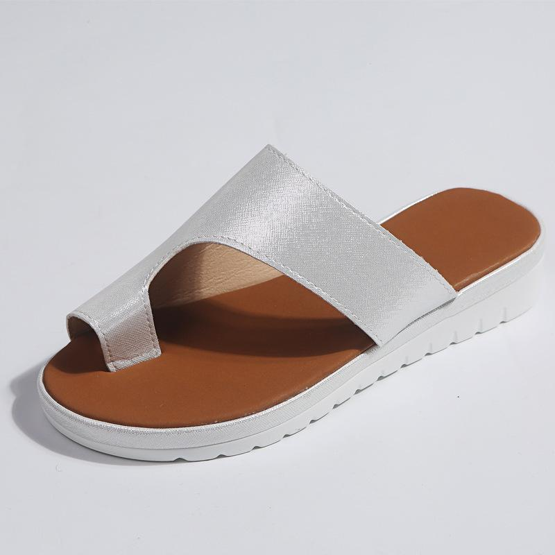Comfy Thick Platform Women Leather Shoes terlik Flat Sole Ladies Casual Soft Foot Correction Sandal Orthopedic Bunion Corrector Y200620