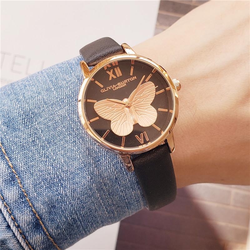 movimiento de cuarzo japonés señoras de la alta calidad de cuero reloj de oro rosa señoras ocasionales impermeables