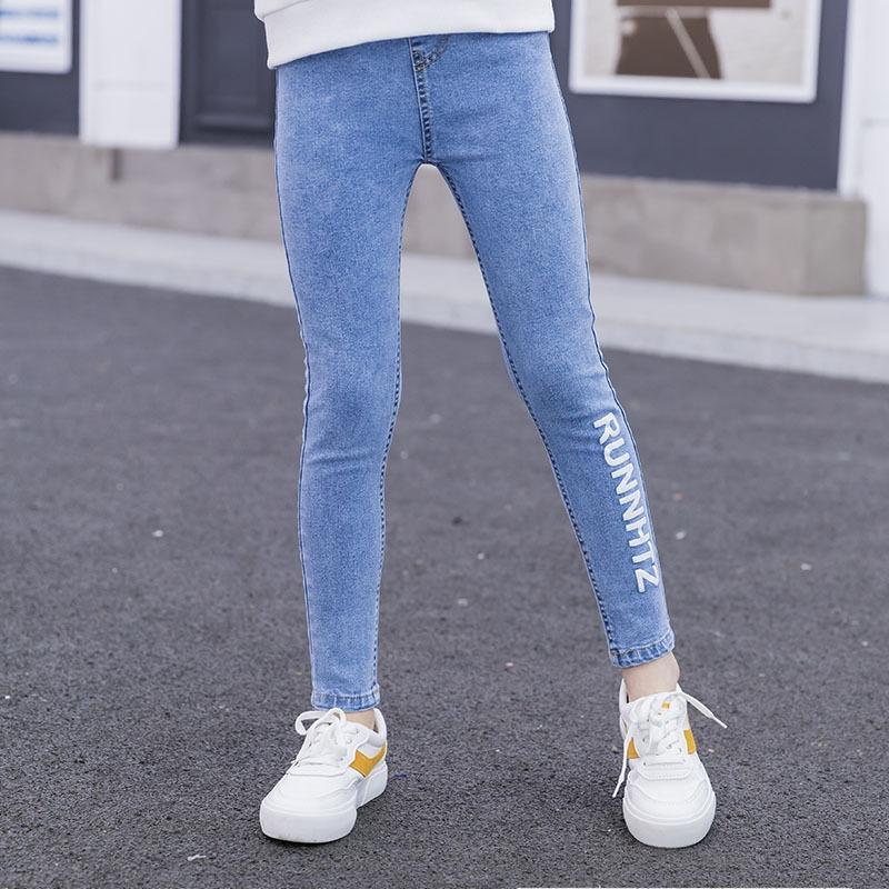 Girls' Denim primavera de 2020 Jeans lápis novo estilo exterior calças lápis de primavera e outono calças vermelhas on-line das crianças Slim Fit moda