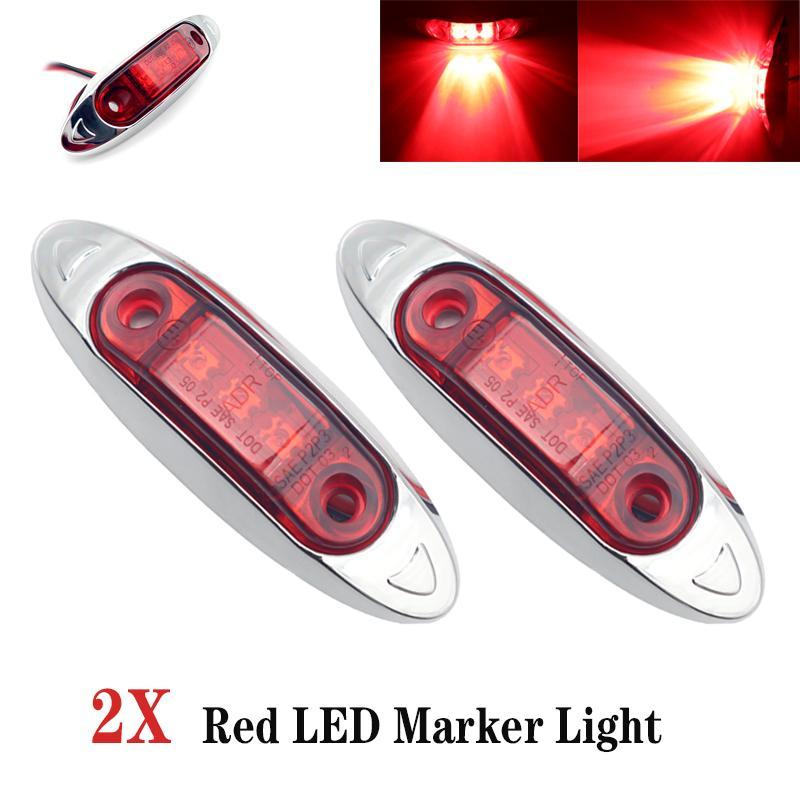 2pcs 3LED 12V / 24V Автомобильный прицеп Грузовик Clear Side Marker Индикатор лампы фуры Caravan RV сигнала поворота свет красный свет водонепроницаемый