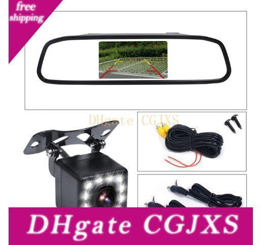 Factory Direct 4 .3 Inch Car Rearview Mirror Monitor Auto Parking Vedio +Led Night Vision Backup Reverse Camera Ccd Car Rear View Camera