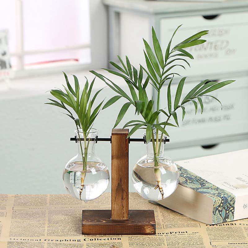Yaratıcı Hidroponik Bitki Vazolar Vintage Çiçek Şeffaf Vazo Ahşap Çerçeve Cam Masa Ana Teraryumlar Bonsai Vazo Dekor Bitkiler