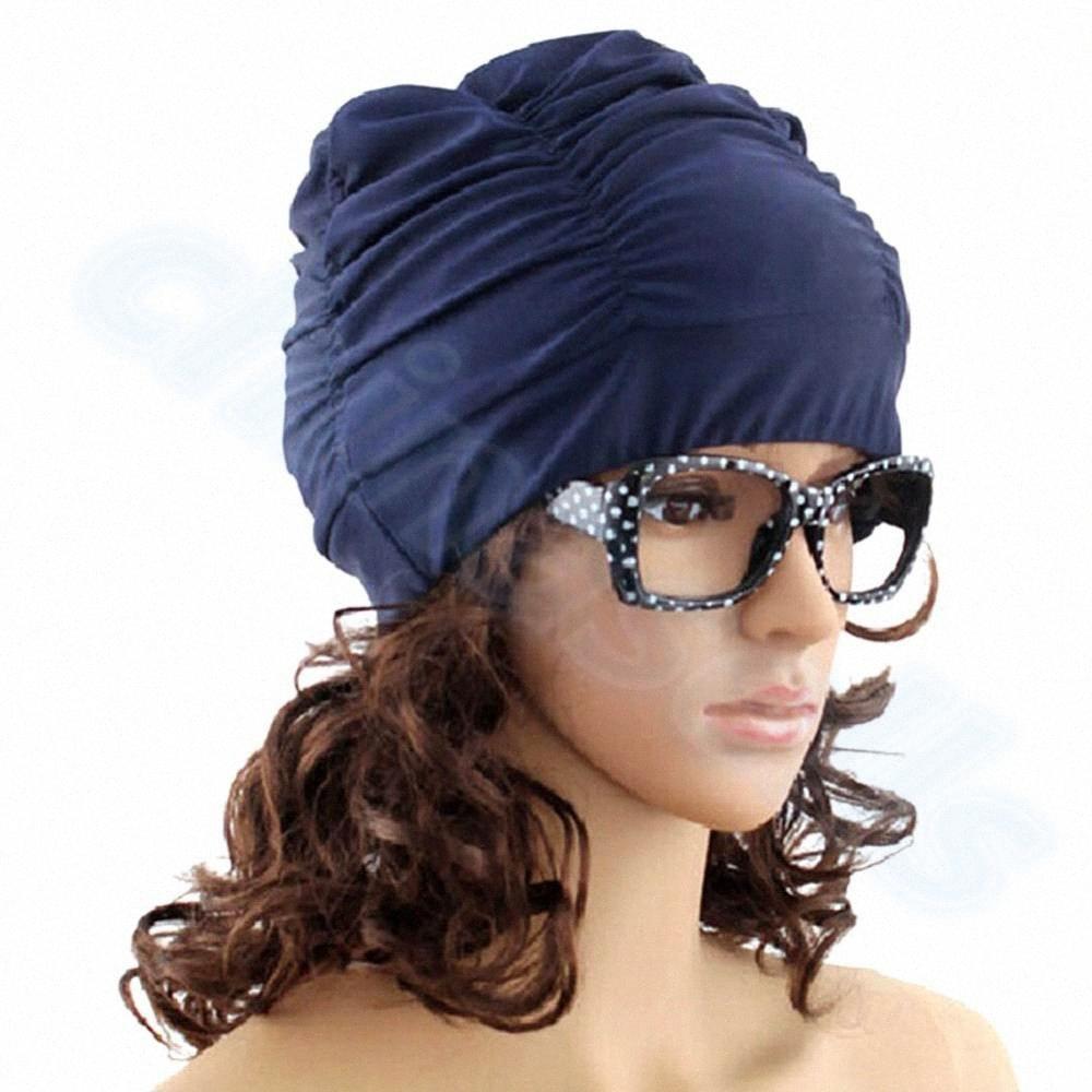 Sexy Lady Femmes Filles Natation Sports nautiques Cheveux longs Bonnet de bain extensible Chapeau Drapé de bain Bonnet Drapé stretch Sport Mer Fo yWt0 #