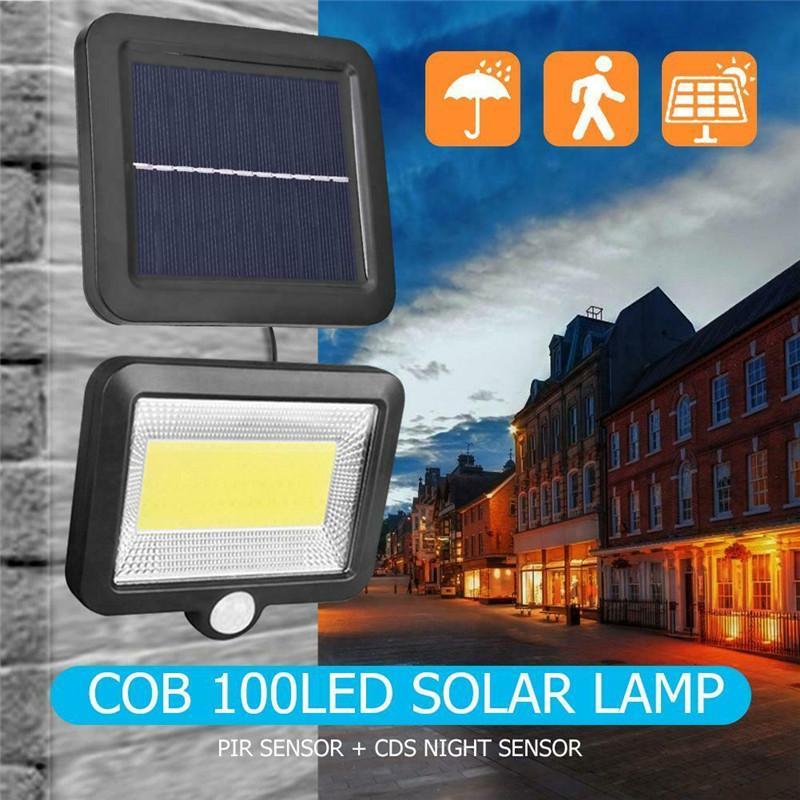 COB con energía solar Foco Farola 100LED lámpara solar del jardín al aire libre de Seguridad Noche partido de la pared de iluminación de luz solar
