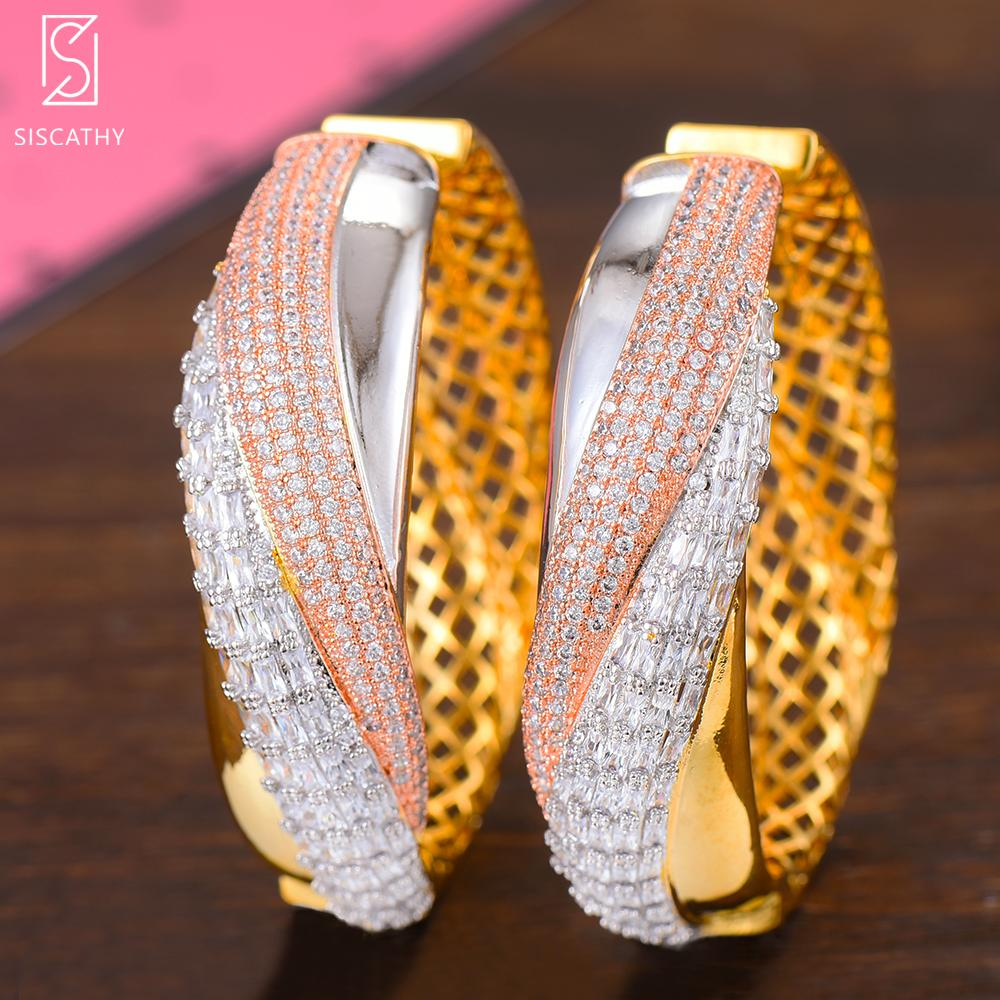2020 al por mayor de lujo de moda nuevos pendientes grandes del aro noble de la manera Mix Rosegold Colores cúbico Declaración de joyería Pendientes Zirconia