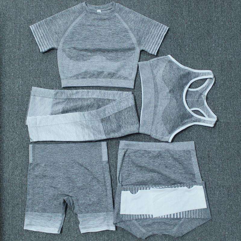 Весна Летняя мода женские толстые йоги костюм Gymshark Sportwear Tracksuits Fitness Sports Five Piece Set 5 шт. Бюстгальтение наряды Leggings Плюс размер yogaworld Согласись