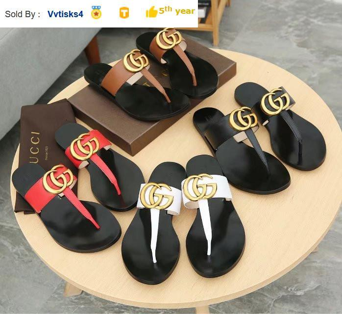 9856 copper buckle T word pinch flip flops Casual Handmade Walking Tennis Sandals Slippers Mules Slides Thongs