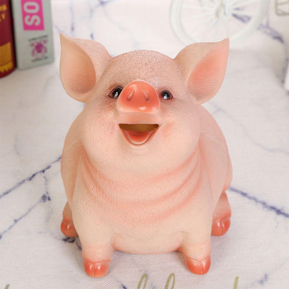 Titolare resina Toy risparmio Pot Piggy Bank Free Standing moneta Pig Shape Money Box