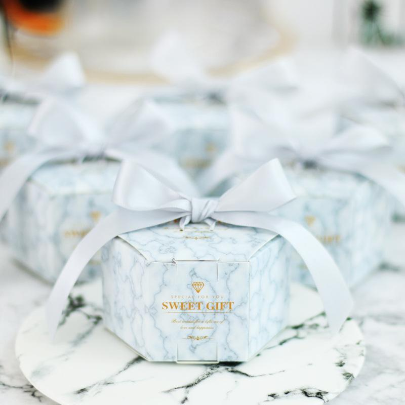 Mariage Marbling Paper Candy Cadeaux Cadeaux Box Dessert Sacs Faveurs de mariage Cadeaux Pour invités Baptême Souvenirs Party Décoration Favoris