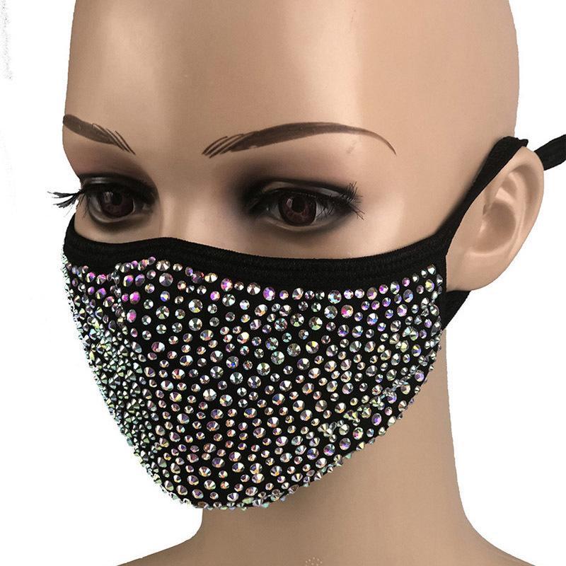 Mode de protection anti-poussière de diamant de Bling Masque PM2,5 Masques bouche lavable réutilisable femmes coloré strass