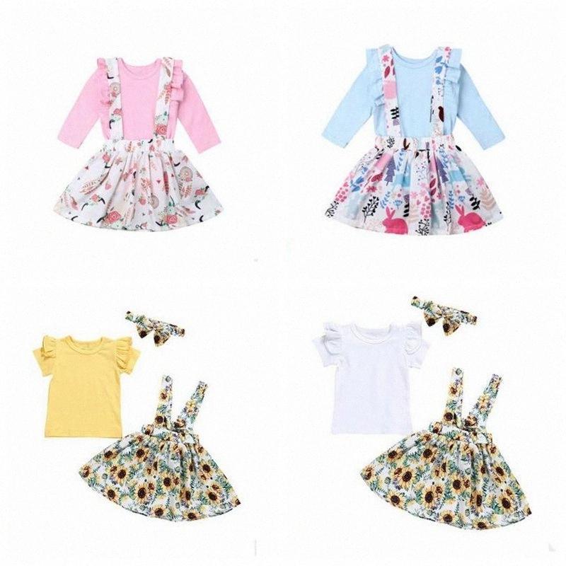 Girls Long Sleeve Suspender Skirt Suit Baby Easter Cartoon Bunny Skirts Shirt 2Pcs Set Ruffles T Shirt Sunflowers Sling Skirt Outfit Z IX8A#