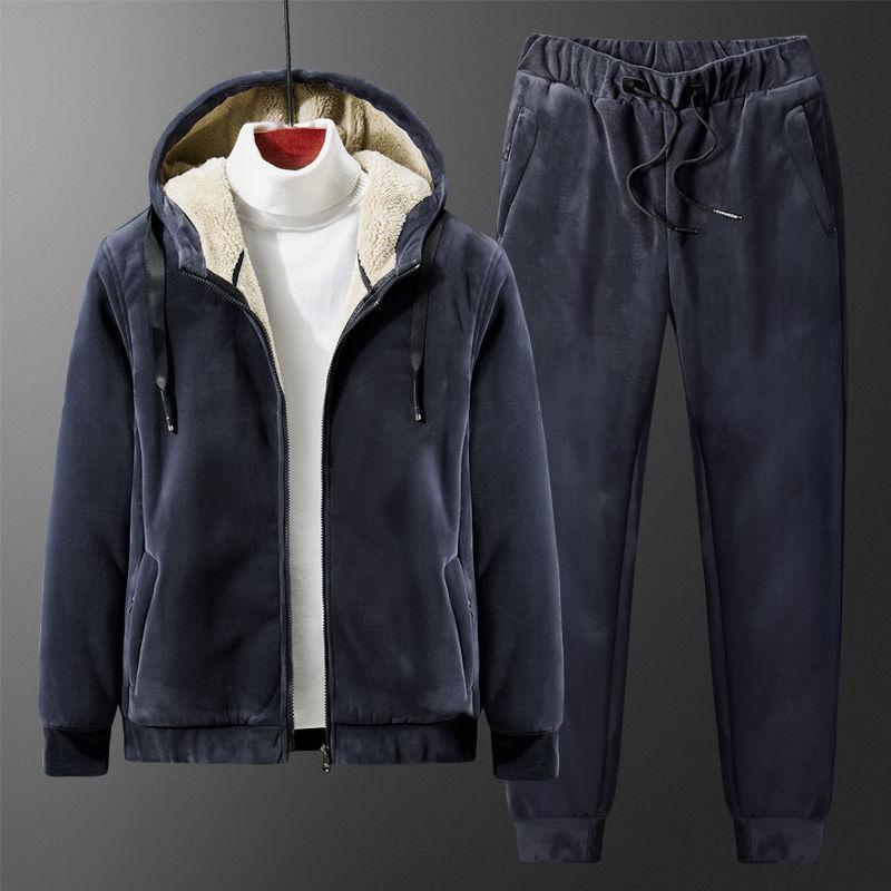 Cachemire vestito Inverno Uomo Tuta caldo pile con cappuccio Pantaloni Abbigliamento 2020 Inverno casuale degli uomini Set Plus Size Velvet 2 pezzi set