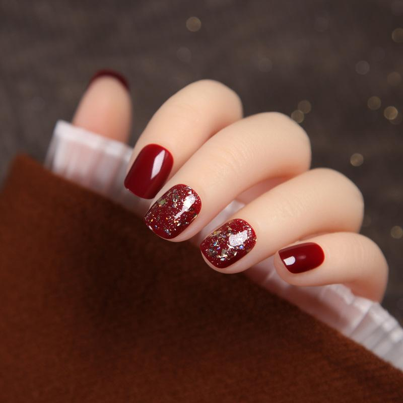 24pcs Super Flash Paillette Cherry Red Color Fake Nails Phototherapy Short Style Wearable Temperament Nail Art Tool TY