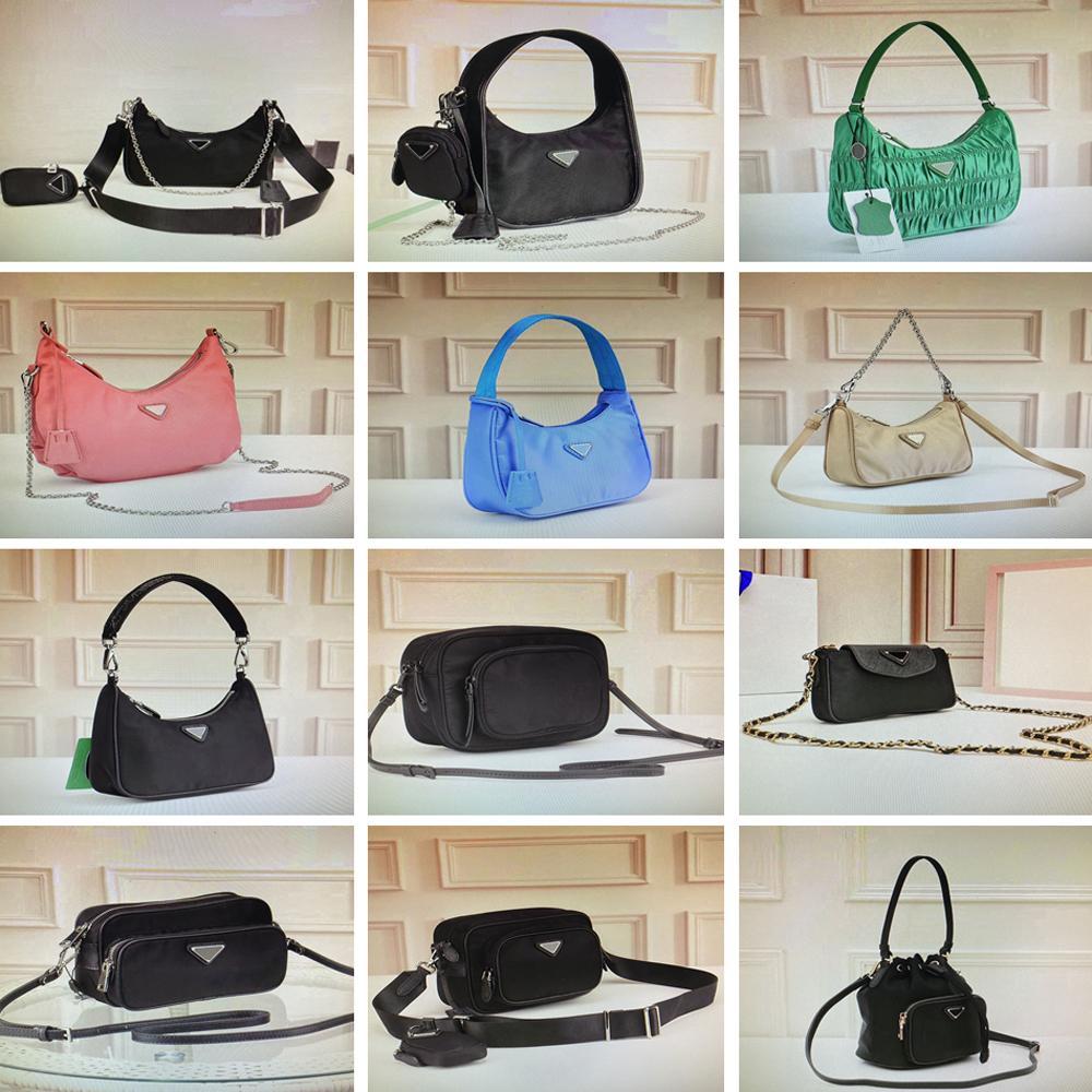 Vintage nylon hobo crossbody bag pleated handbags feel mini shoulder bag for women classic bags fashion chest purse chain tote key wallet
