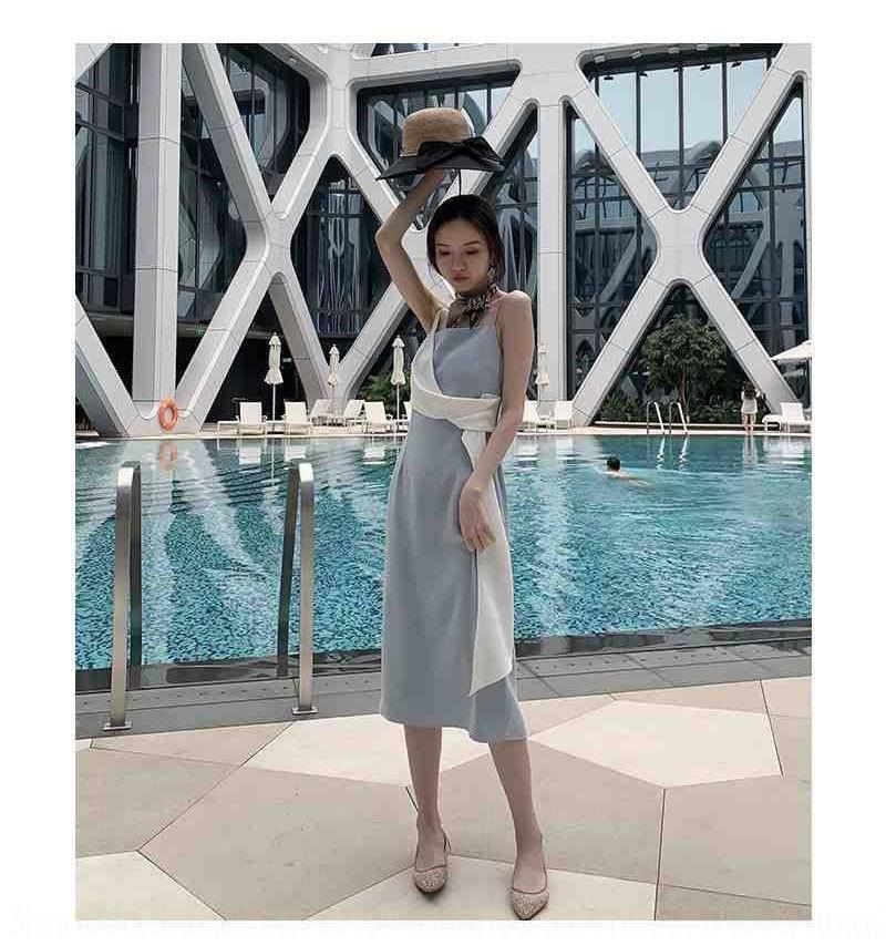 qHnlp IUs9c estate di colore di contrasto della bretella gonna bretella del vestito dolce nuovo stile elegante abito in più jane poi 2020 delle donne hepburn dimagranti