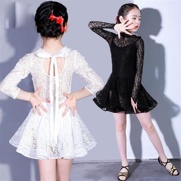 Girls Latin Dance Lace Dress Ballroom Salsa Tango Kids Latin Clothes Split Dancing Dress Competition Costumes 8 10 12 14 16 Yrs 0924