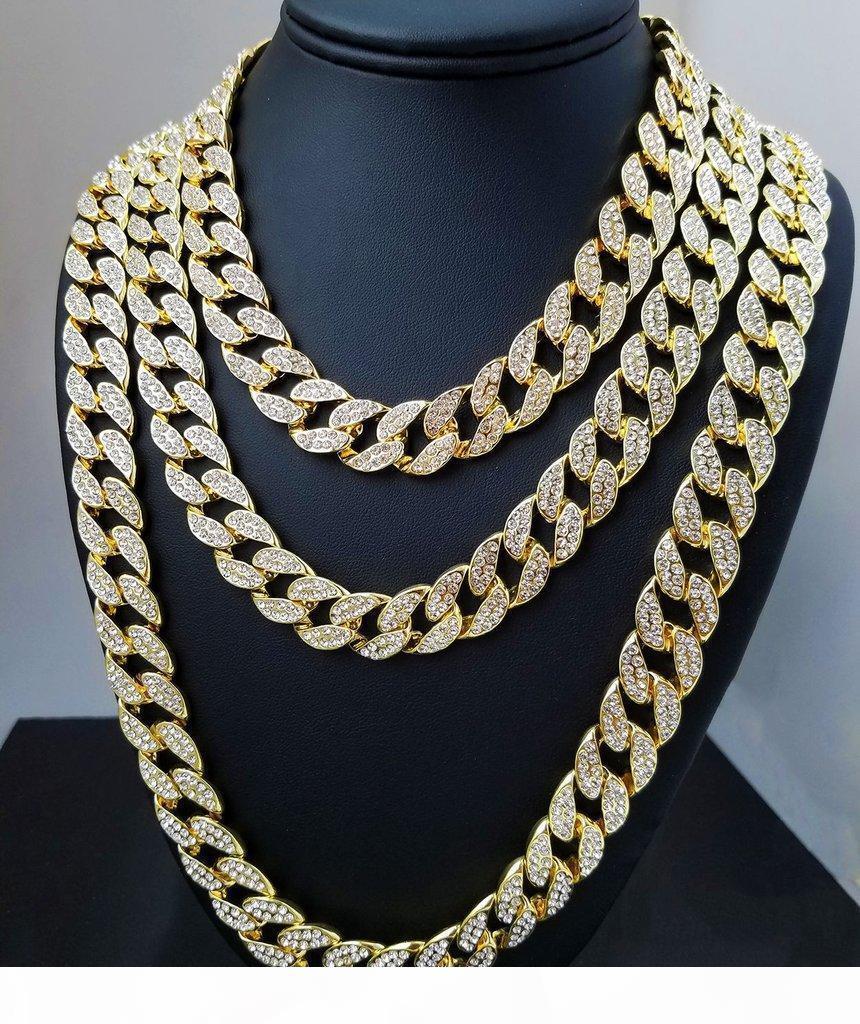 16Inch 18inch 20inch 24Inch 30Inch buzlu Out Yapay elmas Altın Gümüş Miami Küba Link Zinciri Erkekler Hiphop kolye