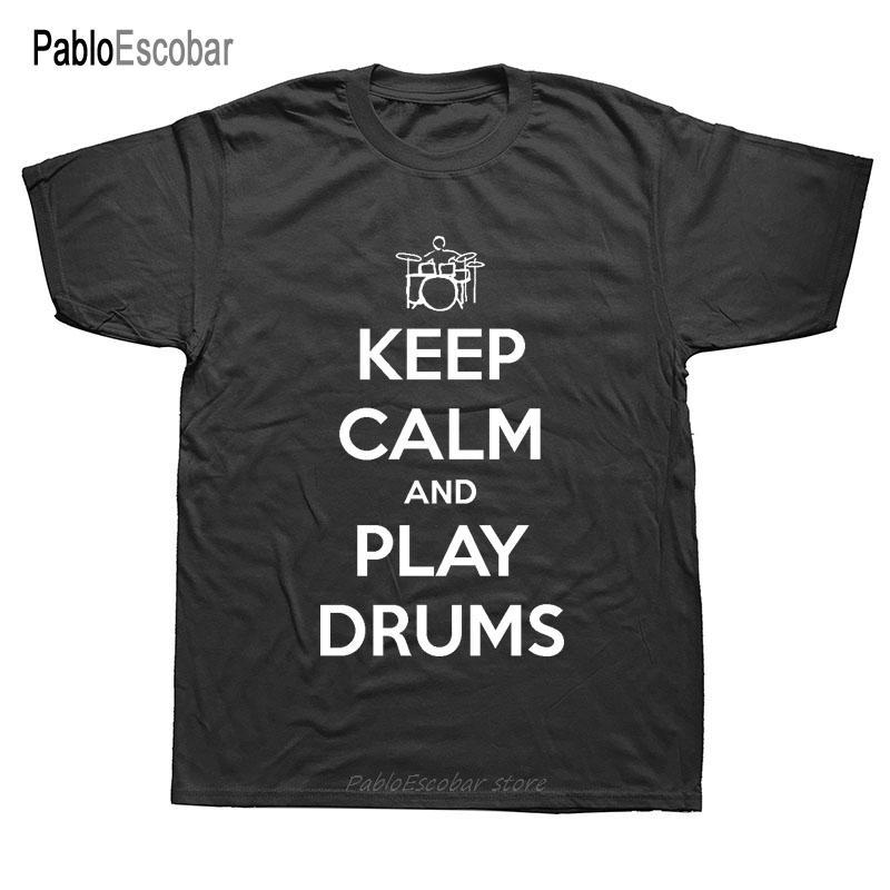 Männer Tops Calm Der Drummer T Halten Sie ist hier T-Shirt für einen Schlagzeuger und Schlagzeug Baumwolle mit kurzen Ärmeln O-Hals-T-Shirt T-Shirt