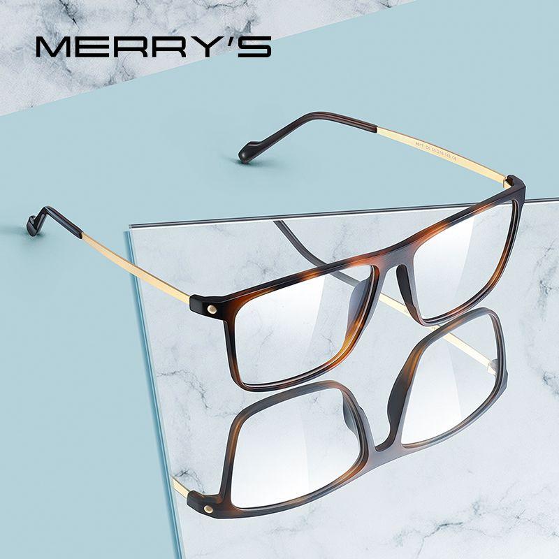 MERRY hommes Mode luxe TR90 Lunettes Cadre Homme Vintage Myopie Prescription Lunettes S2817