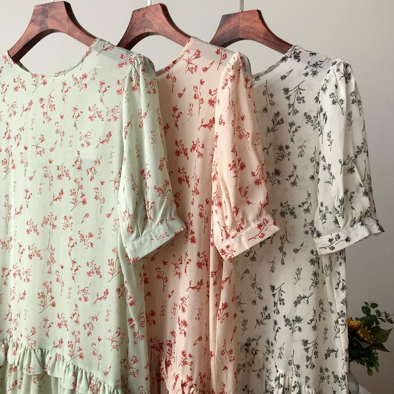 2020 vestido de la gasa de la moda de verano Mori inconformista florales falda de los niños se visten nuevo ocasional 5.12