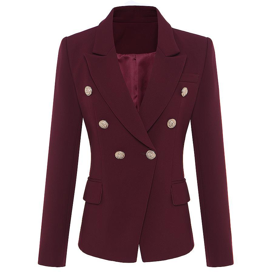 HIGH QUALITY Nouvelle Star Fashion Designer 2020 Blazer femmes Boutons en métal LION double boutonnage Blazer extérieur Manteau CX200815
