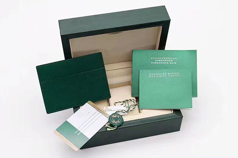 Original Matching Papers Security Card Gift Bag Top Green Wood Watch Box for Rolox Boxes Booklets Watches Free Print Custom Card watch case