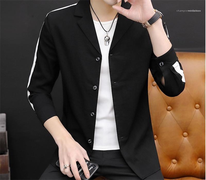 Para hombre de color traje a rayas de contraste de impresión delgada para hombre de las chaquetas de manga larga para hombre de la solapa del cuello solo pecho de abrigo Moda