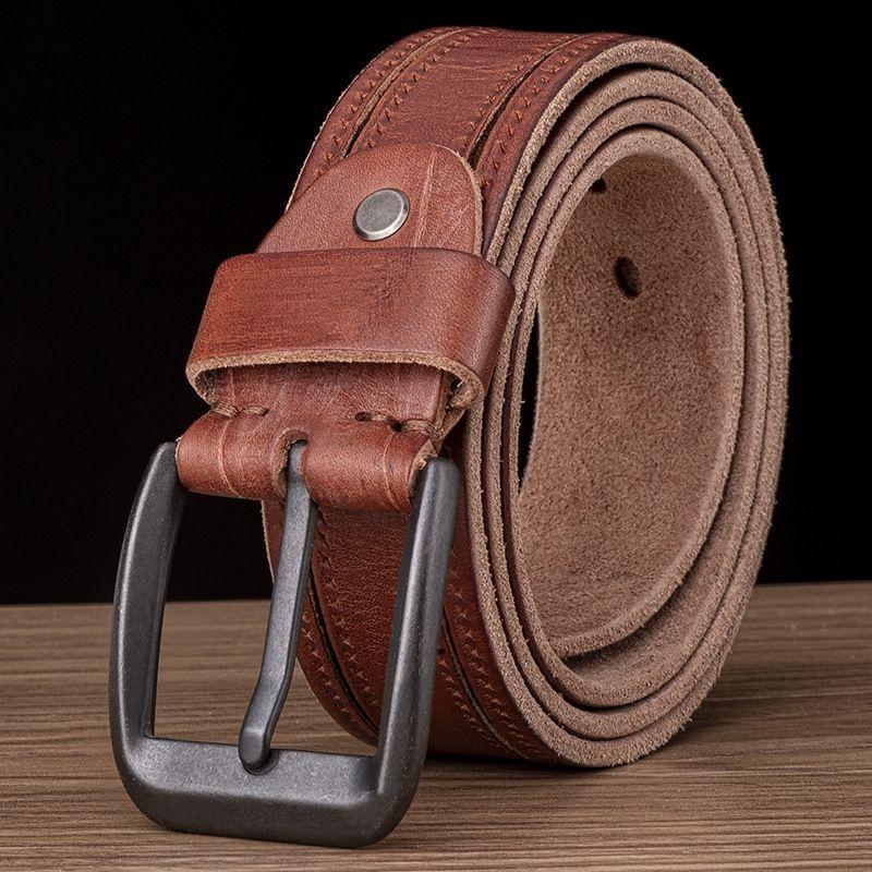 De haute qualité lavé en cuir véritable des hommes en cuir souple couche pinfirst pur cuir de vache simple, fait à la main de ceinture de ceinture hommes