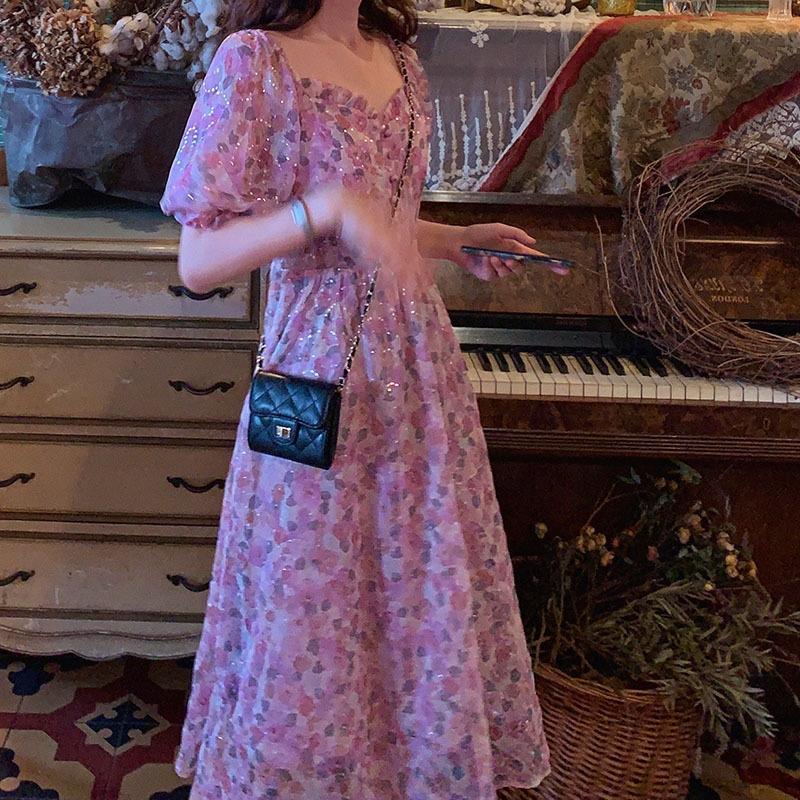 olio floreale Internet Celebrity stesso stile paillettes francesi viola pittura bolla del collare quadrato manicotti della pittura a olio paillettes gonna dres delle donne