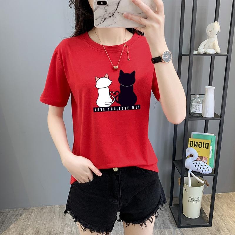Metade ins luva simples dos desenhos animados impresso T-shirt superior tamanho grande t-shirt manga solta curto 2020 aluno novo estilo coreano Top Coat para mulheres 6K