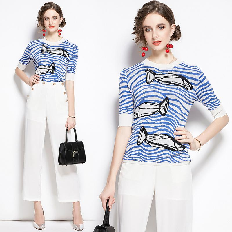 ربيع الخريف 2PCS السيدات مجموعات محبوك خمر السمك الموجة طباعة الطاقم عنق قصير الأكمام أعلى قميص بلوزة سترة سروال رياضية وتتسابق