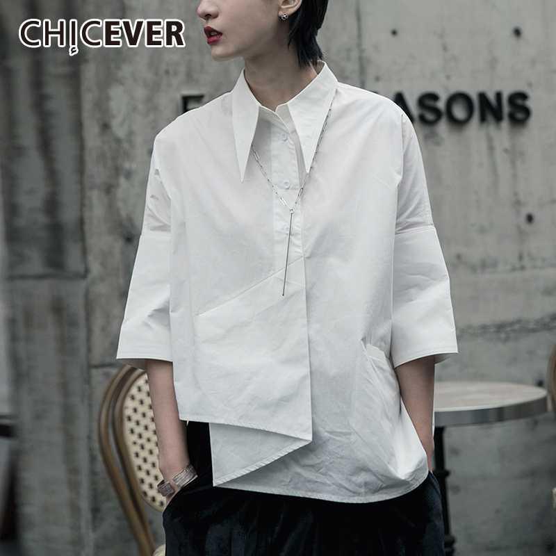 CHICEVER Korean Irregular Women's Shirt Lapel Collar Three Quarter Sleeve Large Size Casual Blouse Female 2020 Fashion Clothes